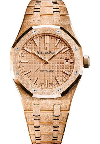 Audemars Piguet Royal Oak Frosted Gold Selfwinding Watch-Pink Dial 37mm-15454OR.GG.1259OR.03 - Luxury Time NYC INC