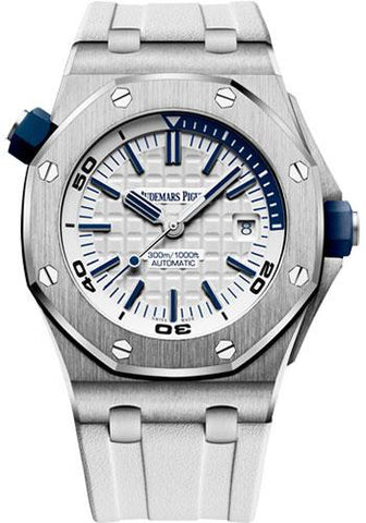 Audemars Piguet Royal Oak Offshore Diver Watch-White Dial 42mm-15710ST.OO.A010CA.01 - Luxury Time NYC INC