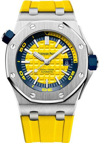 Audemars Piguet Royal Oak Offshore Diver Watch-Yellow Dial 42mm-15710ST.OO.A051CA.01 - Luxury Time NYC INC