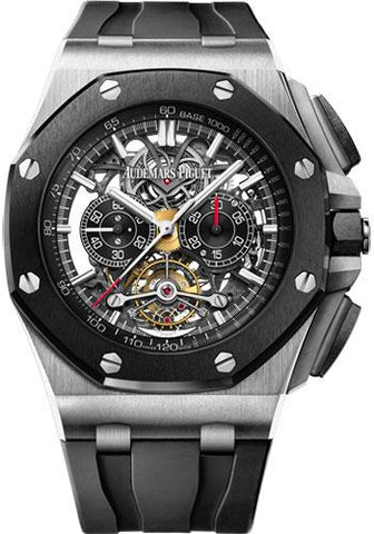 Audemars Piguet Royal Oak Offshore Tourbillon Chronograph Openworked Watch-Black Dial 44mm-26348IO.OO.A002CA.01 - Luxury Time NYC INC