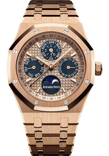 Audemars Piguet Royal Oak Perpetual Calendar Watch-Pink Dial 41mm-26584OR.OO.1220OR.01 - Luxury Time NYC INC