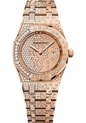 Audemars Piguet Royal Oak Quartz Watch-Pink Dial 33mm-67654OR.ZZ.1264OR.01 - Luxury Time NYC INC