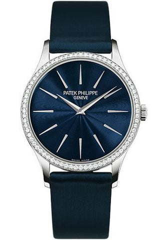 Patek Philippe 33mm Ladies Calatrava Watch Blue Dial 4897G - Luxury Time NYC INC