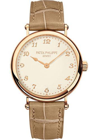 Patek Philippe 34.6mm Ladies Calatrava Watch Cream Dial 7200R - Luxury Time NYC INC