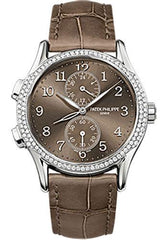 Patek Philippe 35mm Ladies Complications Watch Brown Dial 7134G - Luxury Time NYC INC
