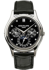 Patek Philippe 37.2mm Perpetual Calendar Moonphase Grand Complication Watch Black Dial 5140P - Luxury Time NYC INC
