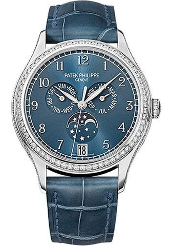 Patek Philippe 38mm Ladies Complications Annual Calender Watch Blue Dial 4947G - Luxury Time NYC INC