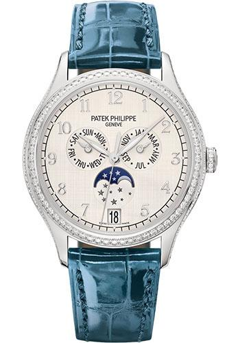 Patek Philippe 38mm Ladies Complications Annual Calender Watch Silver Dial 4947G - Luxury Time NYC INC