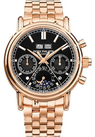 Patek Philippe 40.2mm Grand Complications Split Seconds Chronograph Pertetual Calendar Watch Black Dial 5204/1R - Luxury Time NYC INC