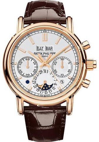 Patek Philippe 40.2mm Grand Complications Split Seconds Chronograph Pertetual Calendar Watch Silver Dial 5204R - Luxury Time NYC INC