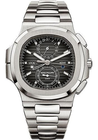 Patek Philippe 40.5mm Nautilus Travel Time Chronograph Watch Black Dial 5990/1A - Luxury Time NYC INC