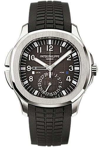 Patek Philippe 40.8mm Mens Aquanaut Dual Time Watch Black Dial 5164A - Luxury Time NYC INC