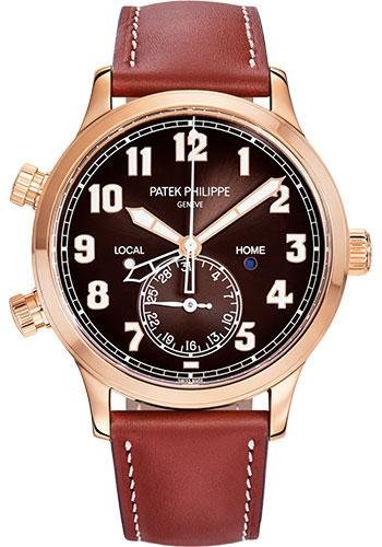 Patek Philippe 42mm Complications Calatrava Pilot Travel Time - 42mm - Rose Gold - Brown Sunburst Dial Brown Dial 5524R - Luxury Time NYC INC