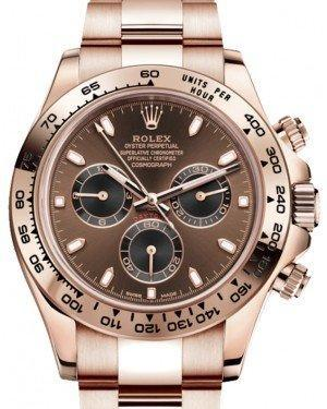 Rolex Cosmograph Daytona 40mm Chocolate Dial Everose Gold Bezel Oyster Bracelet 116505 - Luxury Time NYC INC