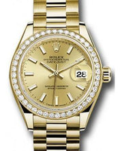 Load image into Gallery viewer, Rolex Datejust 28 279138 Champagne Index Diamond Bezel Yellow Gold President - Luxury Time NYC INC