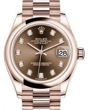Rolex Datejust 31 Lady Midsize Rose Gold Chocolate Diamond Dial & Smooth Domed Bezel President Bracelet 278245 - Luxury Time NYC INC