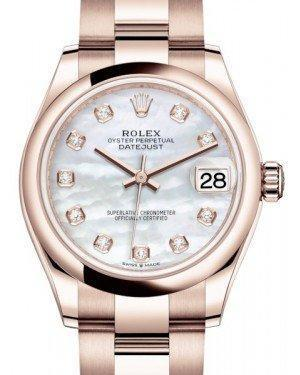 Rolex Datejust 31 Lady Midsize Rose Gold White Mother of Pearl Diamond Dial & Smooth Domed Bezel Oyster Bracelet 278245