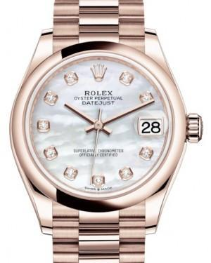 Rolex Datejust 31 Lady Midsize Rose Gold White Mother of Pearl Diamond Dial & Smooth Domed Bezel President Bracelet 278245 - Luxury Time NYC INC