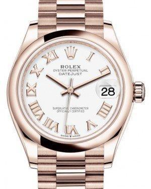 Rolex Datejust 31 Lady Midsize Rose Gold White Roman Dial & Smooth Domed Bezel President Bracelet 278245 - Luxury Time NYC INC