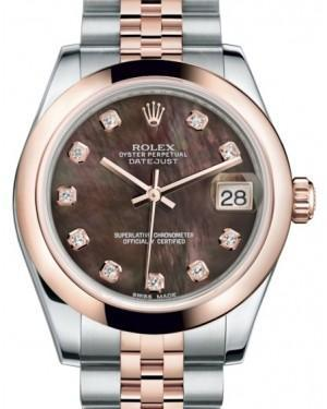 Rolex Datejust 31 Lady Midsize Rose Gold/Steel Black Mother of Pearl Diamond Dial & Smooth Domed Bezel Jubilee Bracelet 178241 - Luxury Time NYC INC