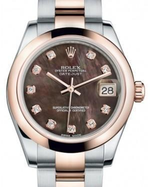 Rolex Datejust 31 Lady Midsize Rose Gold/Steel Black Mother of Pearl Diamond Dial & Smooth Domed Bezel Oyster Bracelet 178241 - Luxury Time NYC INC