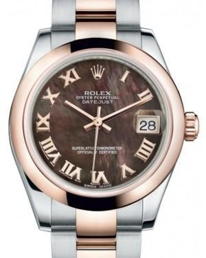 Rolex Datejust 31 Lady Midsize Rose Gold/Steel Black Mother of Pearl Roman Dial & Smooth Domed Bezel Oyster Bracelet 178241 - Luxury Time NYC INC
