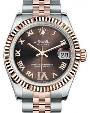 Rolex Datejust 31 Lady Midsize Rose Gold/Steel Chocolate Roman Diamond VI Dial & Fluted Bezel Jubilee Bracelet 178271 - Luxury Time NYC INC