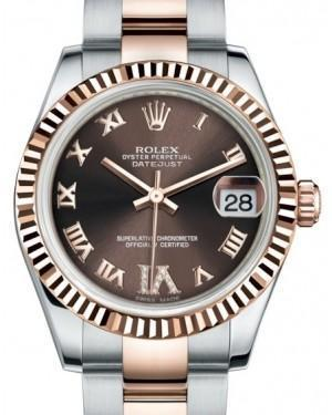 Rolex Datejust 31 Lady Midsize Rose Gold/Steel Chocolate Roman Diamond VI Dial & Fluted Bezel Oyster Bracelet 178271 - Luxury Time NYC INC
