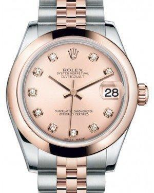 Rolex Datejust 31 Lady Midsize Rose Gold/Steel Pink Diamond Dial & Smooth Domed Bezel Jubilee Bracelet 178241 - Luxury Time NYC INC