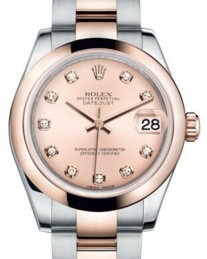 Rolex Datejust 31 Lady Midsize Rose Gold/Steel Pink Diamond Dial & Smooth Domed Bezel Oyster Bracelet 178241 - Luxury Time NYC INC