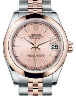 Rolex Datejust 31 Lady Midsize Rose Gold/Steel Pink Index Dial & Smooth Domed Bezel Jubilee Bracelet 178241 - Luxury Time NYC INC