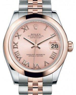 Rolex Datejust 31 Lady Midsize Rose Gold/Steel Pink Roman Dial & Smooth Domed Bezel Jubilee Bracelet 178241 - Luxury Time NYC INC