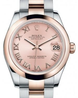 Rolex Datejust 31 Lady Midsize Rose Gold/Steel Pink Roman Dial & Smooth Domed Bezel Oyster Bracelet 178241 - Luxury Time NYC INC