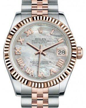 Rolex Datejust 31 Lady Midsize Rose Gold/Steel White Mother of Pearl Roman Dial & Fluted Bezel Jubilee Bracelet 178271 - Luxury Time NYC INC