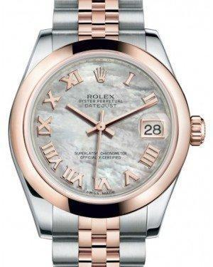 Rolex Datejust 31 Lady Midsize Rose Gold/Steel White Mother of Pearl Roman Dial & Smooth Domed Bezel Jubilee Bracelet 178241