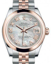 Load image into Gallery viewer, Rolex Datejust 31 Lady Midsize Rose Gold/Steel White Mother of Pearl Roman Dial & Smooth Domed Bezel Jubilee Bracelet 178241
