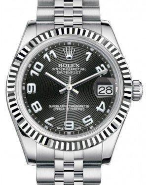 Rolex Datejust 31 Lady Midsize White Gold/Steel Black Concentric Circle Arabic Dial & Fluted Bezel Jubilee Bracelet 178274 - Luxury Time NYC INC