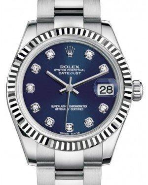 Rolex Datejust 31 Lady Midsize White Gold/Steel Blue Diamond Dial & Fluted Bezel Oyster Bracelet 178274 - Luxury Time NYC INC