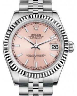 Rolex Datejust 31 Lady Midsize White Gold/Steel Pink Index Dial & Fluted Bezel Jubilee Bracelet 178274 - Luxury Time NYC INC