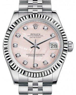Rolex Datejust 31 Lady Midsize White Gold/Steel Pink Mother of Pearl Diamond Dial & Fluted Bezel Jubilee Bracelet 178274 - Luxury Time NYC INC
