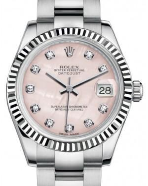 Rolex Datejust 31 Lady Midsize White Gold/Steel Pink Mother of Pearl Diamond Dial & Fluted Bezel Oyster Bracelet 178274 - Luxury Time NYC INC