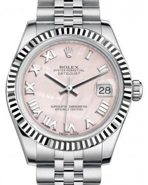 Rolex Datejust 31 Lady Midsize White Gold/Steel Pink Mother of Pearl Roman Dial & Fluted Bezel Jubilee Bracelet 178274 - Luxury Time NYC INC