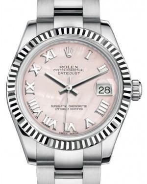 Rolex Datejust 31 Lady Midsize White Gold/Steel Pink Mother of Pearl Roman Dial & Fluted Bezel Oyster Bracelet 178274 - Luxury Time NYC INC
