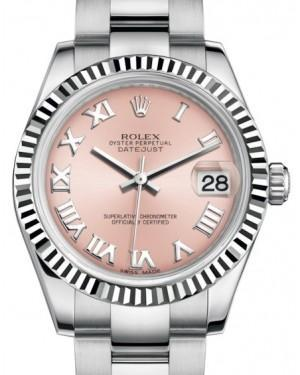 Rolex Datejust 31 Lady Midsize White Gold/Steel Pink Roman Dial & Fluted Bezel Oyster Bracelet 178274 - Luxury Time NYC INC