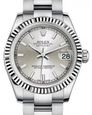Rolex Datejust 31 Lady Midsize White Gold/Steel Silver Index Dial & Fluted Bezel Oyster Bracelet 178274 - Luxury Time NYC INC