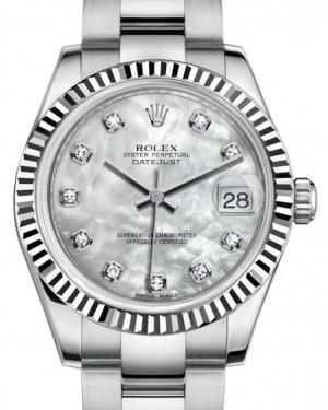 Rolex Datejust 31 Lady Midsize White Gold/Steel White Mother of Pearl Diamond Dial & Fluted Bezel Oyster Bracelet 178274 - Luxury Time NYC INC
