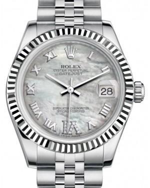 Rolex Datejust 31 Lady Midsize White Gold/Steel White Mother of Pearl Roman Diamond VI Dial & Fluted Bezel Jubilee Bracelet 178274 - Luxury Time NYC INC