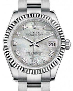 Rolex Datejust 31 Lady Midsize White Gold/Steel White Mother of Pearl Roman Diamond VI Dial & Fluted Bezel Oyster Bracelet 178274 - Luxury Time NYC INC