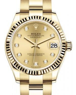 Rolex Datejust 31 Lady Midsize Yellow Gold Champagne Diamond Dial & Fluted Bezel Oyster Bracelet 278278 - Luxury Time NYC INC