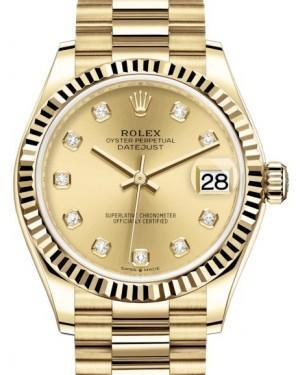 Rolex Datejust 31 Lady Midsize Yellow Gold Champagne Diamond Dial & Fluted Bezel President Bracelet 278278 - Luxury Time NYC INC